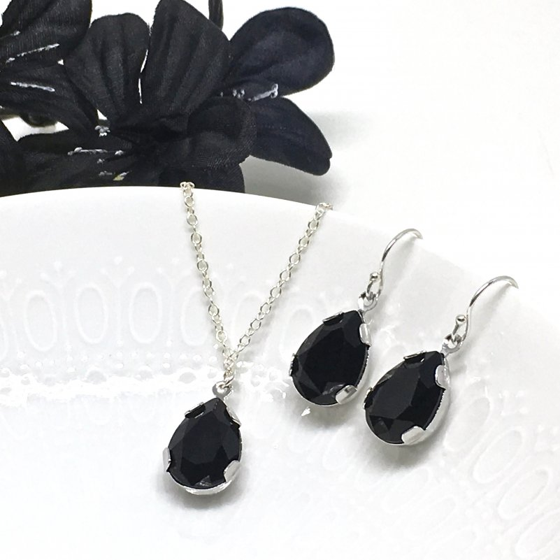 Black Swarovski Drop Crystal Pendant Jewelry Set Pear Shaped Rhinestone Bridesmaid Jewelry