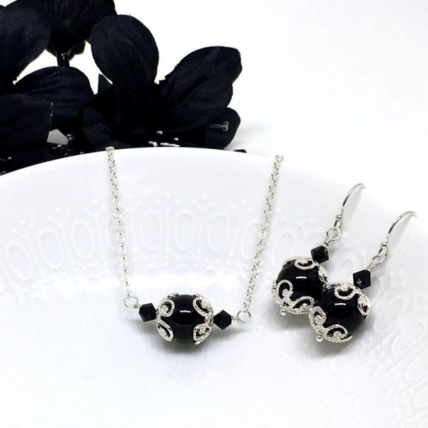 Black Pearl Necklace Scroll Filigree Sterling Silver East-West
