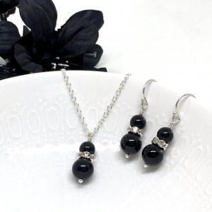Black Double Pearl Bridesmaid Jewelry