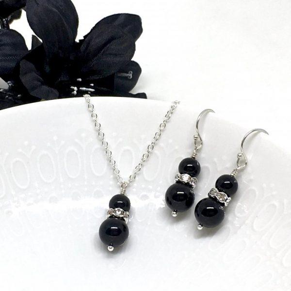 Black Pearl Bridesmaid Necklace Set