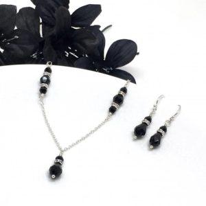 Black Drop Crystal Bridesmaid Jewelry