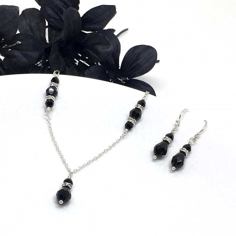 Black Bridesmaid Jewelry Set With Silver Accents Swarovski Crystal Teardrop