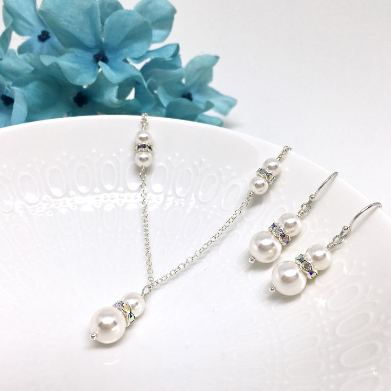 Double Pearl Pendant Necklace Bridal Jewelry Set with Rondelle Crystal