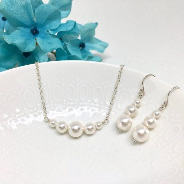 Swarovski Pearl Necklace Bridal Jewelry Sterling Silver Chain Choker