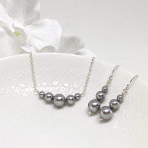Graduated Grey Pearl Chain Necklace Swarovski Pearl Prom Jewelry