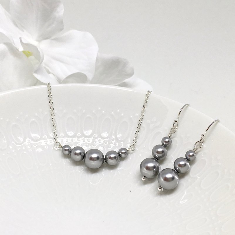 Graduated Grey Pearl Chain Necklace Swarovski Pearl Prom Jewelry