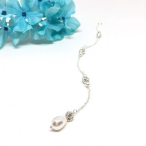 Jewelry For Brides Pave Crystal Ball Drop Pearl Bridal Backdrop Necklace