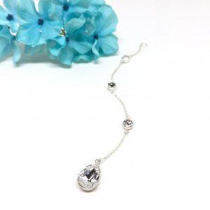 Bridal Backdrop Necklace Pear Shaped Swarovski Crystal Back Necklace