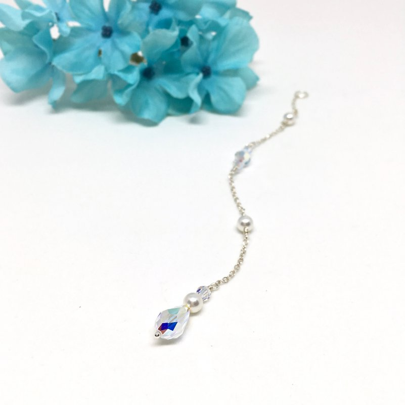 Teardrop Crystal With Pearls Back Drop Necklace
