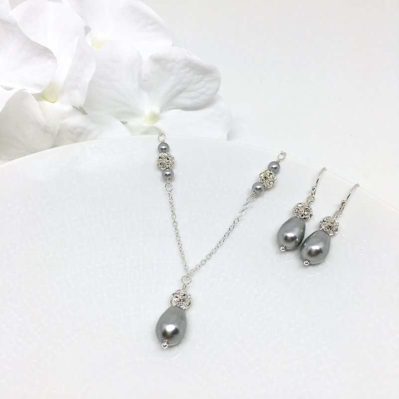 Vintage Style Jewelry For Prom Gray Necklace and Earrings