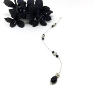Black Teardrop Back necklace