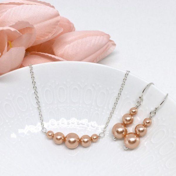 Rose Gold Pearl Choker Prom Jewelry