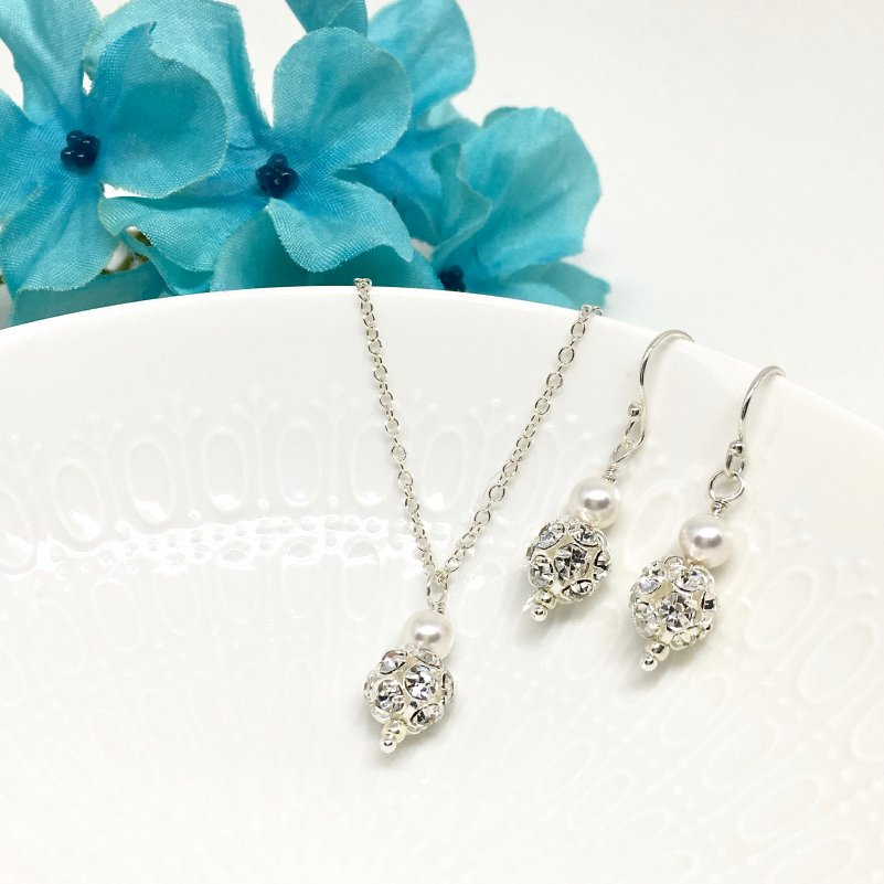 Pave crystal pearl necklace Bridal Jewelry Set