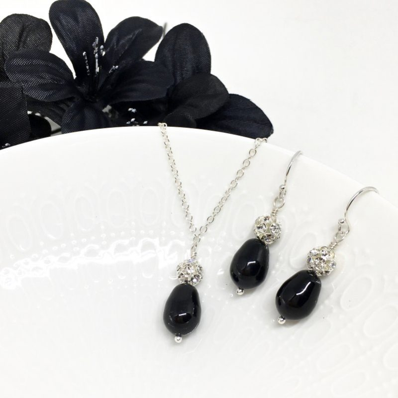 Black Teardrop Pearl Bridesmaid Jewelry