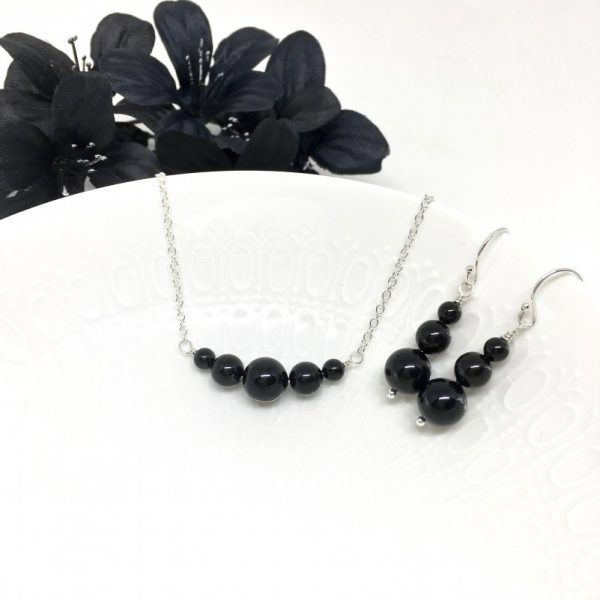 Black Graduated Pearl Choker Necklace Sterling Silver Chain Bridesmaid Jewelry