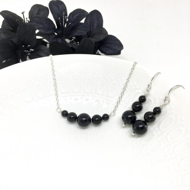 Black Graduating Pearl Bridesmaid Jewelry