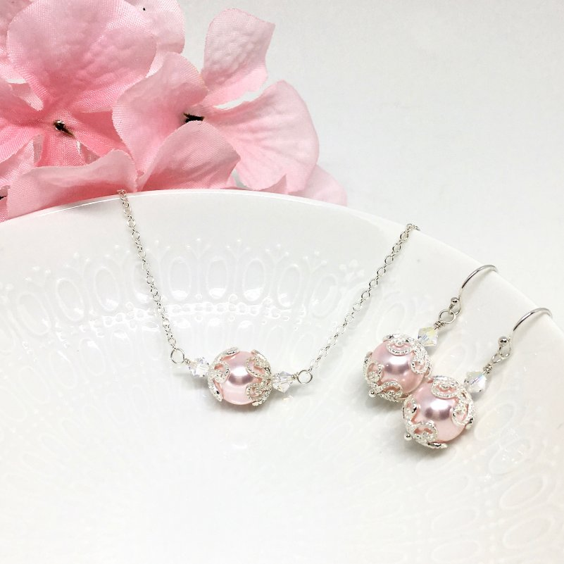 Pink Jewelry Pink Pearl Necklace Sterling Silver Scroll Filigree