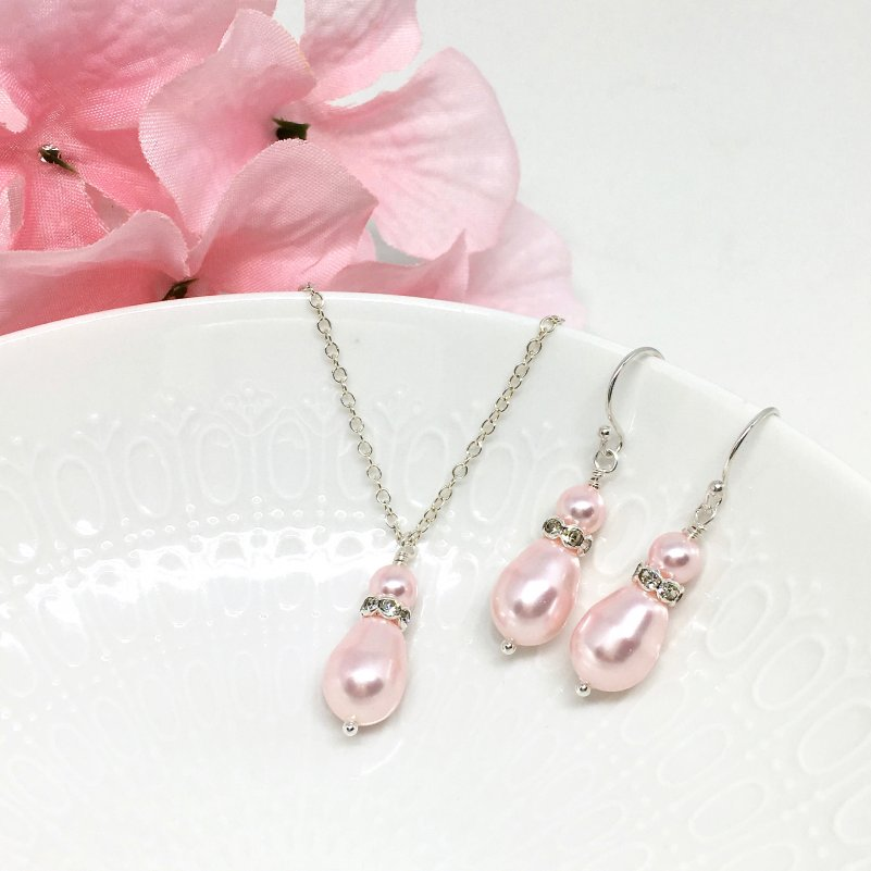 6fdd3a36c916cd Blush Pink Drop Pearl Bridesmaid Jewelry Crystal Accent Meghan Collection  BMJS-MEGH