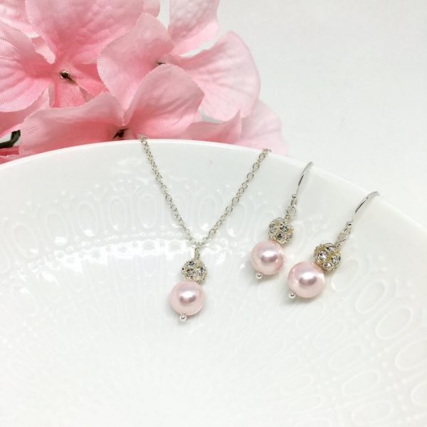 Sparkly Light Pink Bridesmaid Jewelry Pave Ball Crystal Sterling Silver
