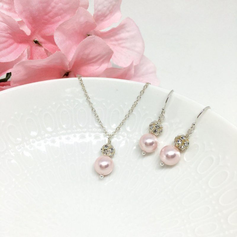 Sparkly Light Pink Bridesmaid Jewelry
