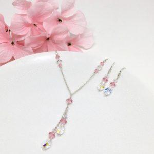 Pink Bridesmaid Lariat Necklace