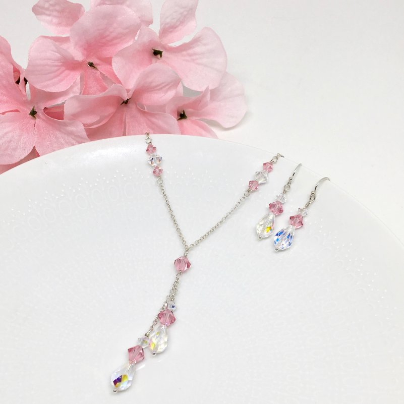 Pink Bridesmaid Lariat Necklace