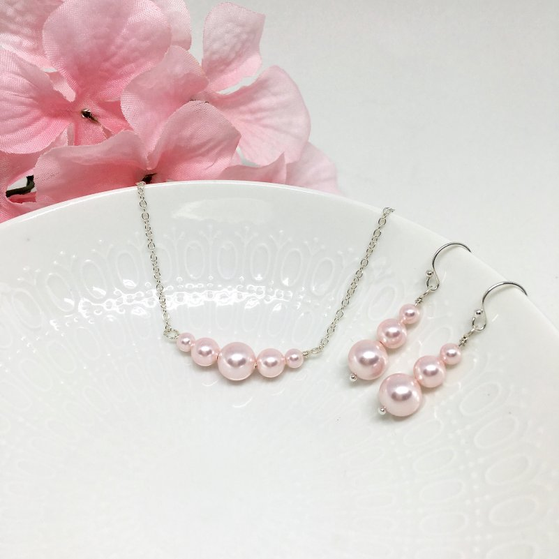 Graduated Pink Pearl Chain Necklace Bridesmaid Jewelry