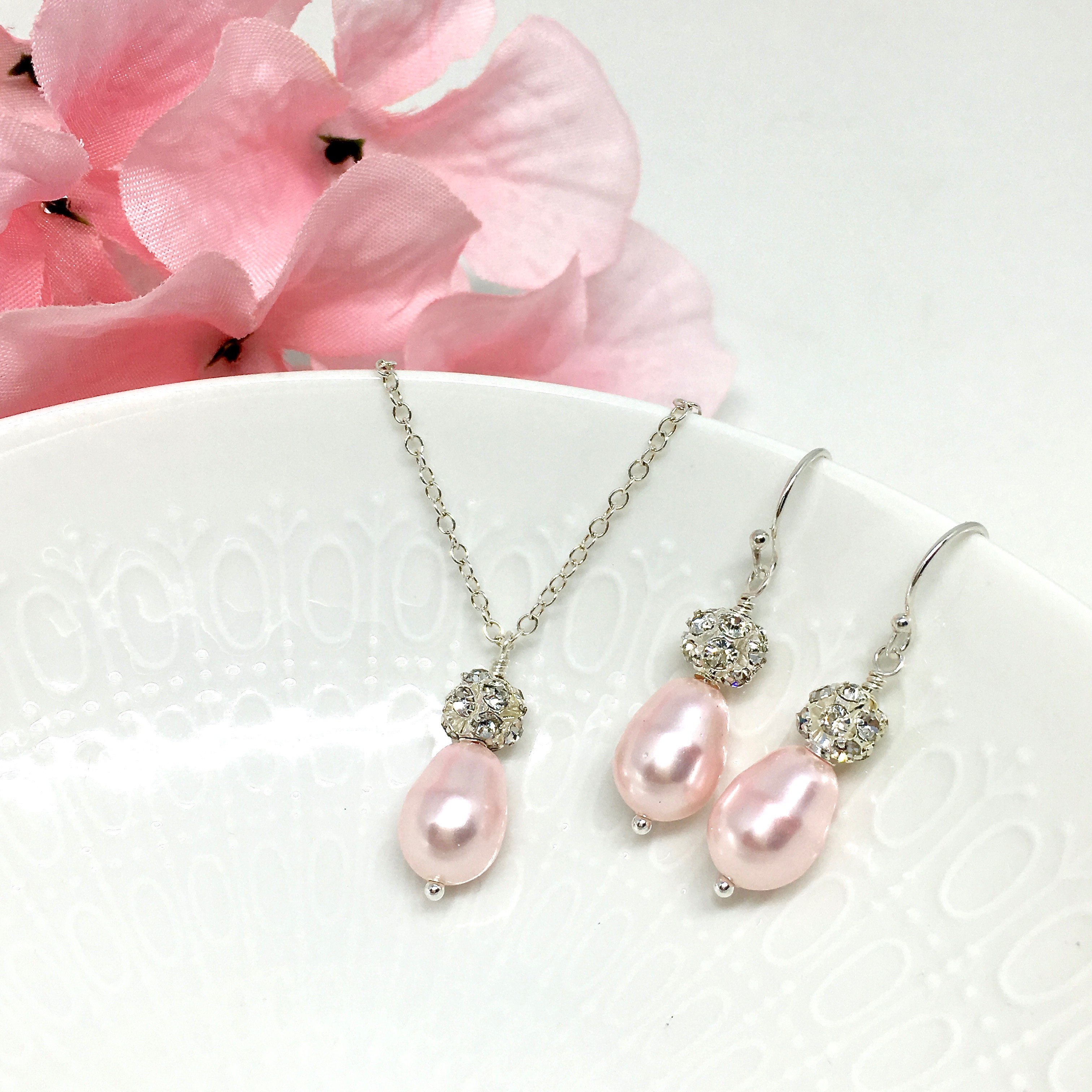 Pink bridesmaid jewelry Pave crystal ball sterling silver