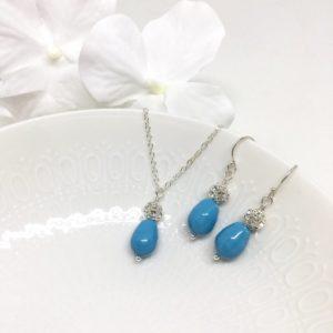 Aqua Blue Teardrop Pearl Bridesmaid Jewelry