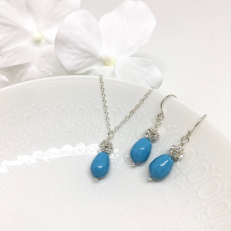 Aqua Blue Bridesmaid Jewelry Drop pearl sterling silver pave ball
