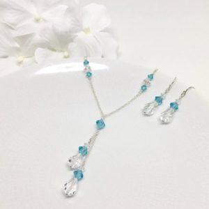 Aqua Blue Bridesmaid Lariat Necklace