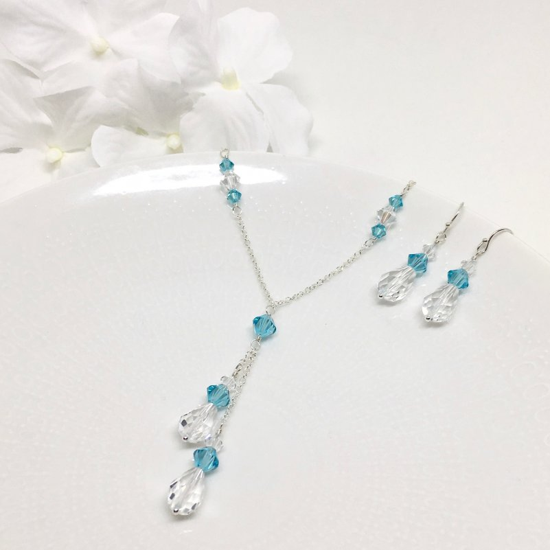 Aqua Blue Bridesmaid Lariat Necklace