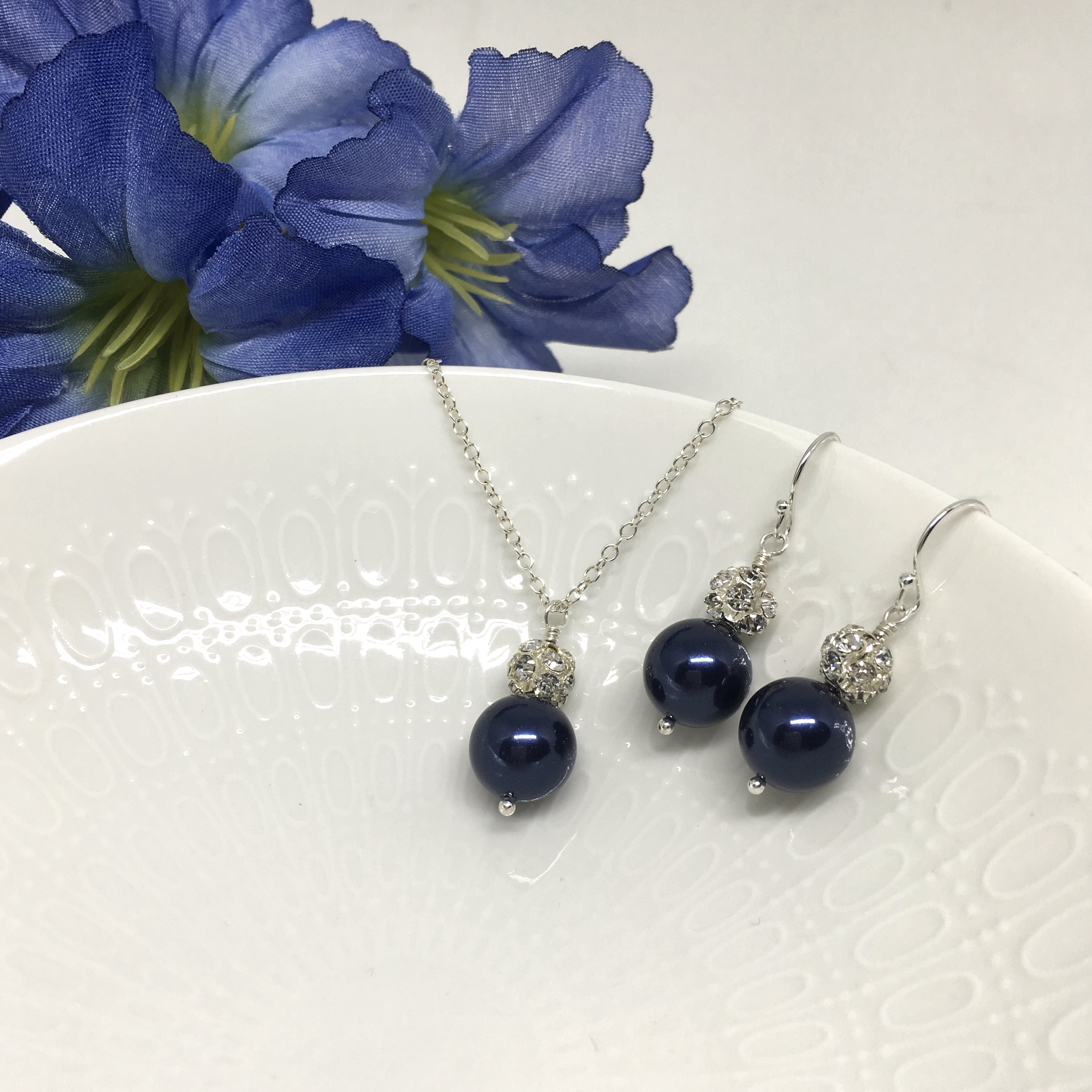 Swarovski Pearl Midnight Blue Bridesmaid Jewelry