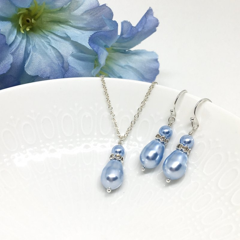 Blue Jewelry Bridesmaid Jewelry Teardrop Pearl