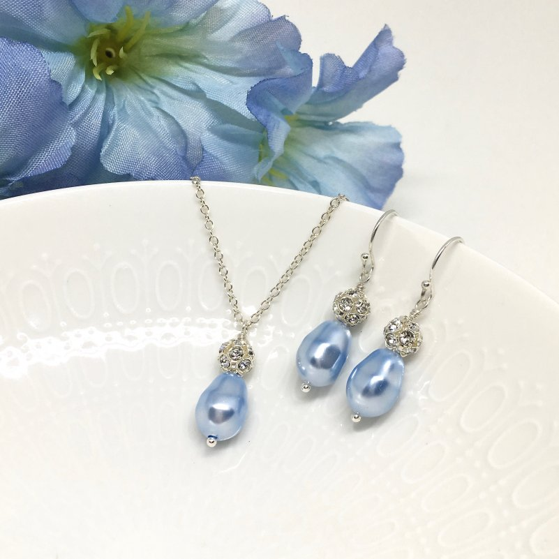 Light Blue Bridesmaid Jewelry Sparkly Pave Rhinestone
