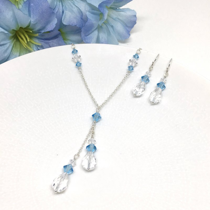 Aquamarine Lariat Necklace Blue Bridesmaid Jewelry
