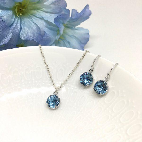 Aquamarine Crystal Necklace Solitaire Bridesmaid Jewelry