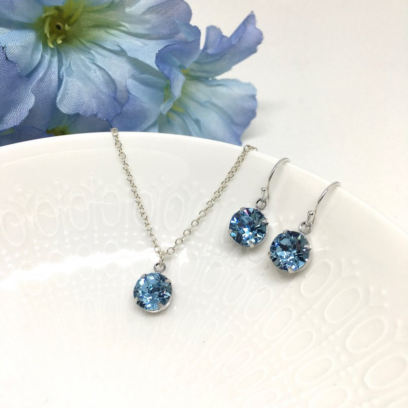 Aquamarine Crystal Necklace Solitaire Bridesmaid Jewelry