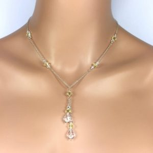 Pale Yellow Lariat Necklace