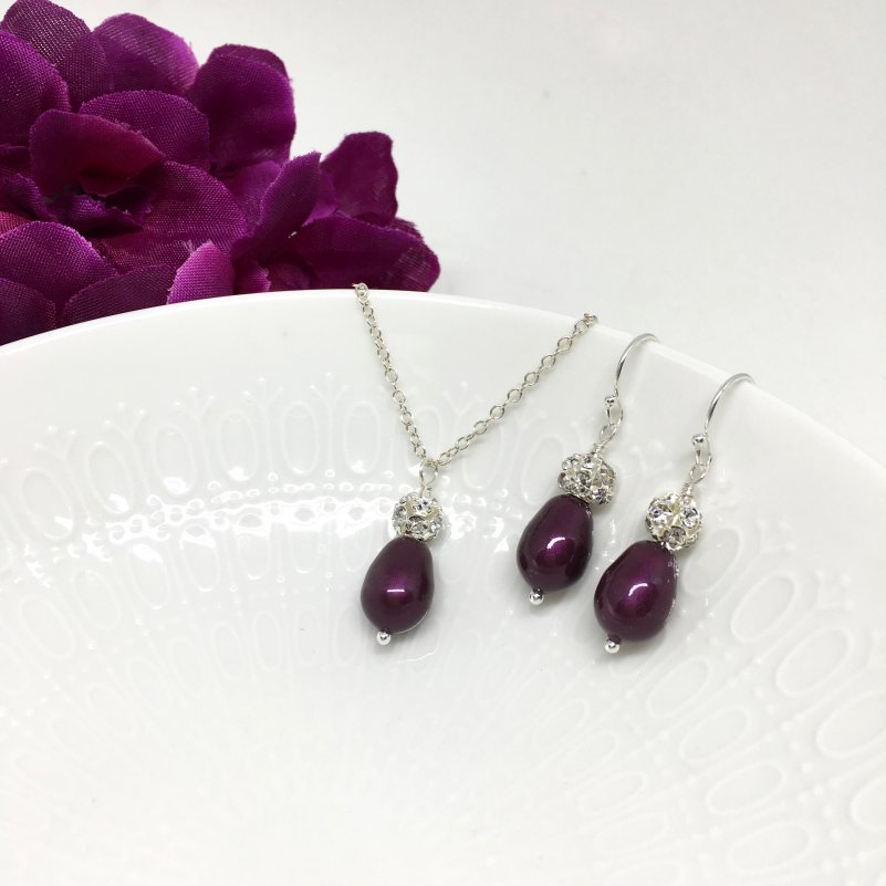 Wine Colored Bridesmaid Jewelry