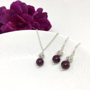 Swarovski Blackberry Pearl Bridesmaid Jewelry