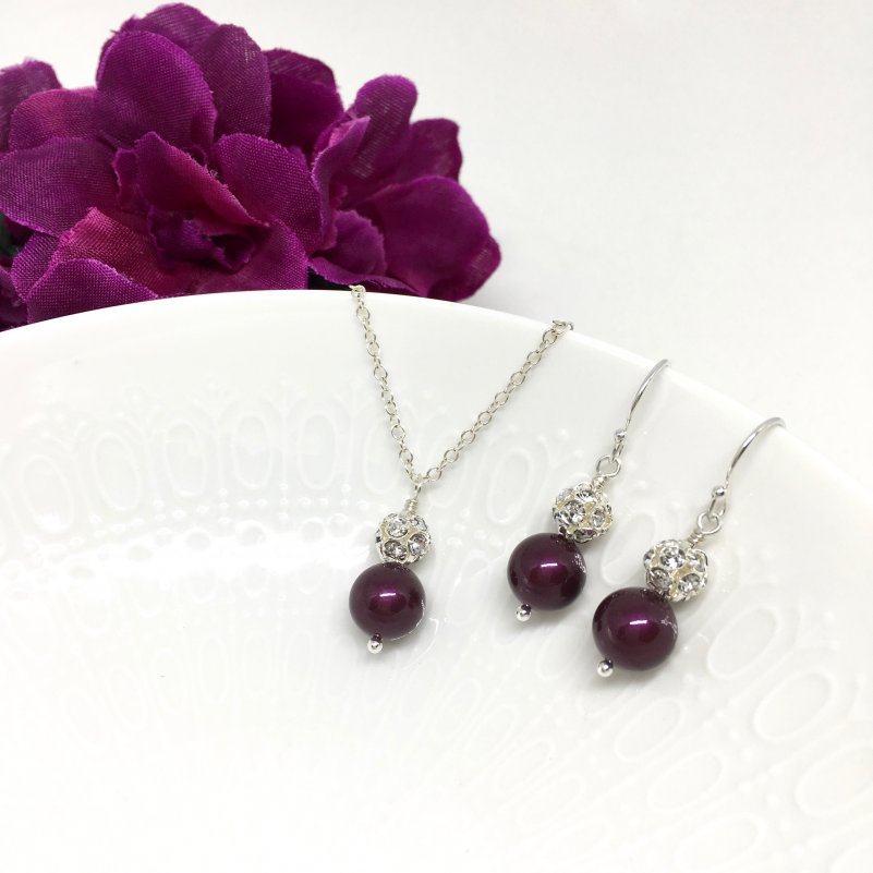 Swarovski Blackberry Pearl Wine Bridesmaid Jewelry Set with Pave ball in sterling silver.