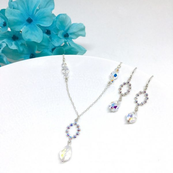 Delicate Bridal Necklace Oval Halo Bridal Jewelry