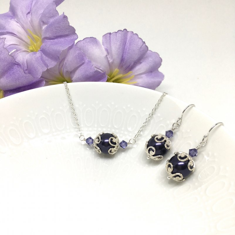 Plum Jewelry Swarovski Dark Purple Pearl Filigree Bridesmaid Set