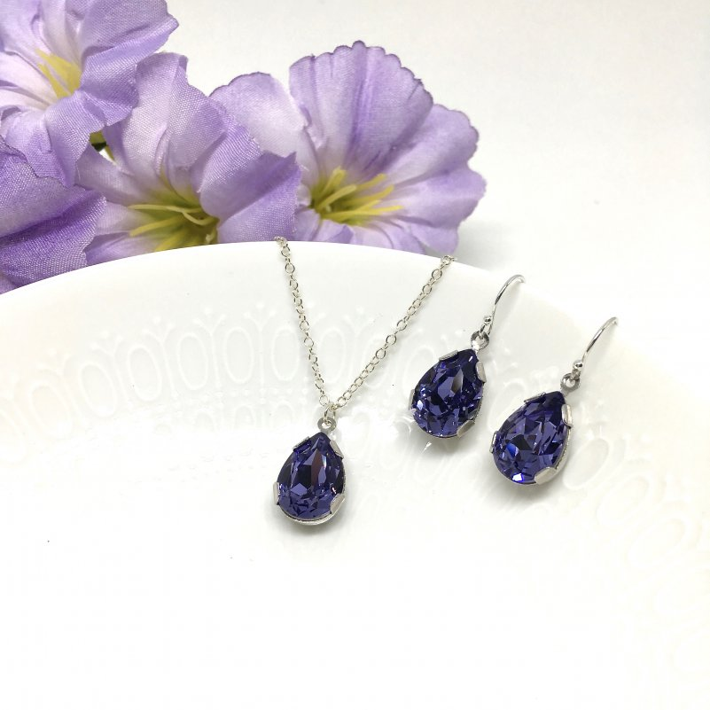 Purple Jewelry Set Tanzanite Amethyst Pear Shape