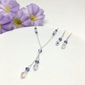 Tanzanite Necklace Bridesmaid Jewelry Swarovski Crystal Lariat Necklace