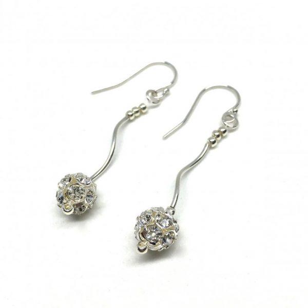 Long Dangle Earrings Pave Ball Sterling Silver Tube Beads