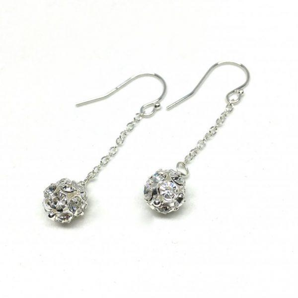 Long Chain Earrings Pave Ball Rhinestone Bridal Earrings Silver Drop Chain