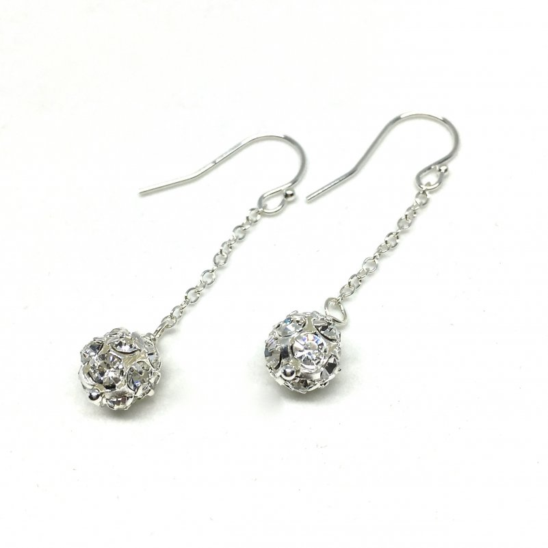 Long Chain Earrings Pave Ball Rhinestone Bridal Earrings Silver Drop Chain