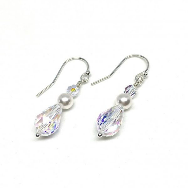 Crystal and Pearl Earrings Teardrop Swarovski
